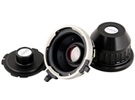 Three lens adaptors placed side by side