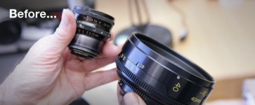 Before and after image of a still lens
